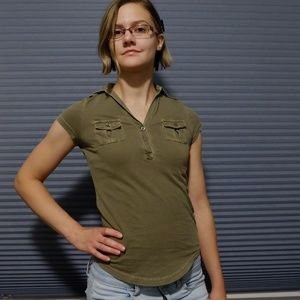 Olive Collared Tee w Buttons, Double Breast Pocket